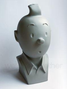 HERGÉ - ÉDITIONS MOULINSART Tintin, buste monochrome gris, figurine en résine
