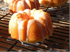 orange yogurt mini bundt cakes-the orange flavor is refreshing and the Greek yogurt makes the cake extra moist.