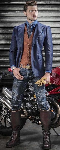 Great look with custom jeans, vest, blazer, and boots.