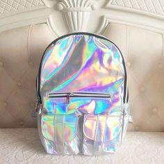 Holographic hologram backpack silver for Sale in Chandler, AZ - OfferUp Silver Backpacks, Cute Backpacks, Girl Backpacks, Mochila Kpop, Tmblr Girl, Holographic Fashion, Holographic Fabric, Mode Kawaii, Kawaii Style