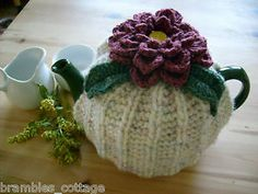 Hand Knitted ~ Tea Cosy with Crochet sophisticated shabby chich Flower & Leaves ~ for Med T Pot | eBay