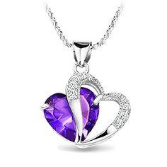 Accent Rhodium Plated Diamond Amethyst Heart Shape Pendant Necklace E Da Silver Pendant Necklace, Crystal Pendant, Crystal Necklace, Silver Pendants, Amethyst Crystal, Purple Amethyst, Diamond Pendant, Blue Topaz, Pendant Jewelry
