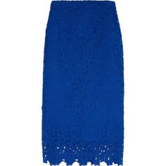 J.Crew Collection Liola guipure lace pencil skirt (6.049.230 VND) ❤ liked on Polyvore featuring skirts, bottoms, blue, pencil skirt, lacy skirt, blue pencil skirt, knee length lace skirt and lace skirt