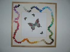 50x50 cm Rahmen von Ikea mit dem Stampin up Schmetterlingsstempel und gestanzte Schmetterlinge aus 75 verschiedenen Farbschattierungen