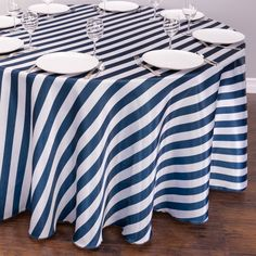 120 in. Round Navy Blue & White Striped Satin Tablecloth