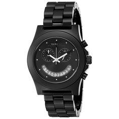 Marc By Marc Jacobs MBM4574 Women's Raver Black Dial Black Plastic Bracelet Chronograph Watch