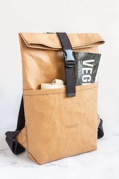 Minimalistic backpack ECO-friendly. Washable kraft paper Minimalists sustainable VEGAN rucksack for MacBook 13''. Ethical plant leather Macbook 13, Handbags For Men, Kraft Paper, Cosmetic Bag, Eco Friendly, Minimalist, Backpacks, Purses, Vegan