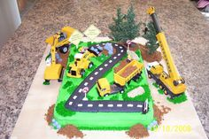 boys construction cakes | construction zone buttercream construction cake for 2 year old twin s ...