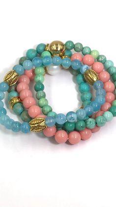 Gold Multi Colour Crystal Stretch Bracelet Ladies Women Girls Dress Gift Jewelry