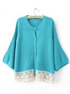 Blue Bat Long Sleeve  Sweater with Lace $42.00