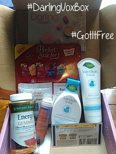 #DarlingVoxBox contents:  1.Nature's Bounty Energy Gummies #BetterOffHealthy  2. Eva NYC Surfs Up Texture Spray #EveSummerMoms #EvaNYC  3. Live Clean Baby Gentle Moisture Tearless Shampoo & Wash   4.  Live Clean Baby Gentle Moisture Baby Lotion #LiveCleanMoms  5.  Country Crock Buttery Spread Coupon #CountryCrock  6. Duncan Hiines Perfect for 1: Chocolate Lovers Cake   #HowPerfectIsThat   #GotItFree #contest