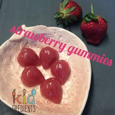 Strawberry gummies (with or without sweetening) easy to make, get the kids involved, kid friendly and extra yummy. Lunchbox lollies!