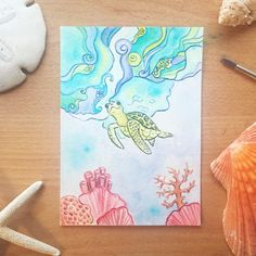 Seaturtle whimsy wave watercolor. Coral reef