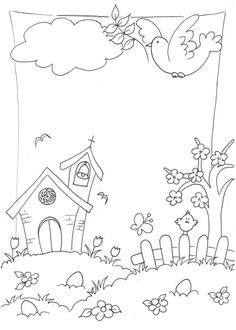 Ev Doodle Coloring, Coloring For Kids, Colouring Pages, Drawing For Kids, Art For Kids, Diy And Crafts, Crafts For Kids, City Drawing, Notebook Art