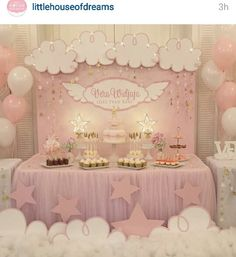 Saw this on instagram on one of my favorite bakery pages that I follow. One of the best baby shower displays I've ever seen. It looks so beautiful and dream-like!
