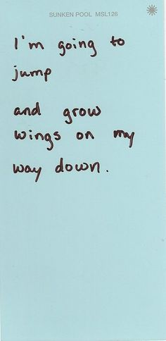 jump & grow wings on the way down.  Jeff Jochum told us to do this in Fight Club.  Great advice. :)