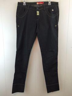 Apple Bottoms Jeans Sz 9/10 Black Skinny Stretch Legging Special Edition Denim #AppleBottoms #SlimSkinny