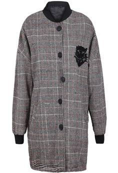 Abrigo cuadros Tigre cuello de soporte-Rojo y gris EUR€29.68