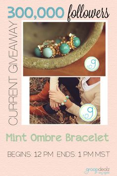 Giveaway every HOUR from 8-8MST today on Groopdealz! Love this bracelet!