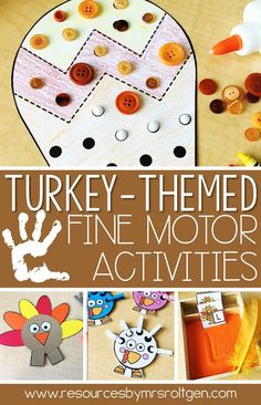 These Turkey-Themed Fine Motor Activities are perfect for Thanksgiving or Autumn themed lessons in the Kindergarten classroom. Students will learn cutting simple shapes & line puzzles, pokey pin page, linking, lacing, clipping, gluing, tweezing, letter writing practice, playdough mat & line tracing. Kinders will love using these during morning tubs, centers, stations, small group work, early intervention, gifted & talented education {GATE}, or early or fast finishers. {Seasonal, Holiday, Fall}
