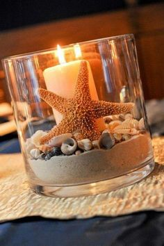 beach wedding table centerpiece - Assorted shells, Starfish & sand ** Shipped in separate package. ** Candle not included ** Starfish size ranges from 2 to 4 inches Beach Wedding Tables, Beach Wedding Favors, Diy Wedding, Trendy Wedding, Wedding Summer, Beach Themed Weddings, Nautical Wedding Decor, Decor Wedding, Wedding Ceremony
