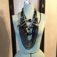 Black Statement Assemblage Necklace, Halloween, Gothic, Layered Beads,... ($43) ❤ liked on Polyvore featuring jewelry, necklaces, black necklace, gothic, layered chain necklace, goth jewelry, beaded bib necklace, multi layer necklace and chunky necklaces