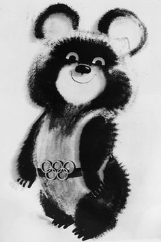Misha the Bear, designed by Victor Chizhikov and selected as the mascot for the 1980 Moscow Olympics. (Photo by Central Press/Getty Images)