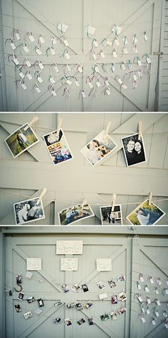 pictures on a clothes line. I love it but i have other ideas for this same concept :)