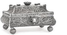 A RUSSIAN SILVER FILIGREE CASKET, FEDOR PICHUGIN, MOSCOW, 1856, the hinged cover applied with one large and six smaller flower heads, raised on four ball feet, 13cm, 5in wide 270gr, 8oz 14dwt