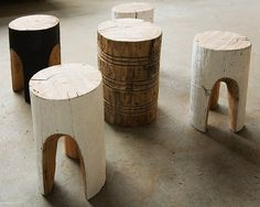 GREG HATTON, CARVED STOOLS: the paint puts them over the edge.