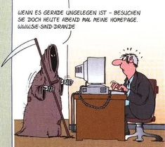 www.sie-sind-dran.de (Cartoon von Uli Stein) Funny Cartoons, Funny Comics, Mobile Business, Funny Pins, Simple Art, Art Auction, Art Drawings, Haha, Funny Pictures