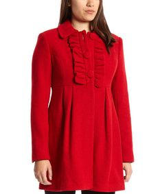 Loving this Red Wool-Blend Empire-Waist Coat on #zulily! #zulilyfinds