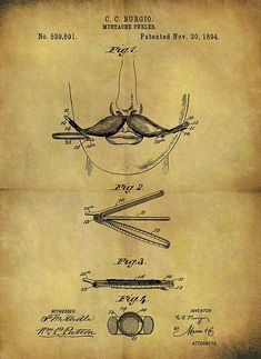 Eyebrow Shaping Discover 1894 Mustache Curler Patent by Dan Sproul C. Barber Shop Decor, Barbershop Design, Patent Drawing, Patent Prints, Curlers, Vintage Wall Art, Beard Styles, Photo Wall Art, Art Prints