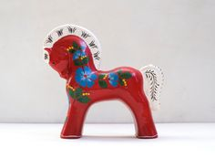 "Russian Folk Art Large 11"" Khokhloma Red Horse Hand Painted Large Paper Mache Dala Figurine Toy"