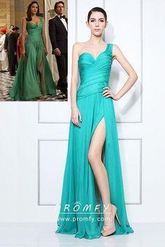 6877aee6bdd Asymmetrical Pleated One Strap Unique Jade Chiffon Celebrity Prom Dress