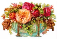 free vintage flower clipart peach and pink cabbage roses in Victorian container . This reminds me of my Nanna x Clip Art Vintage, Vintage Ephemera, Vintage Cards, Vintage Paper, Vintage Postcards, Art Floral, Floral Vintage, Vintage Flowers, Vintage Graphic