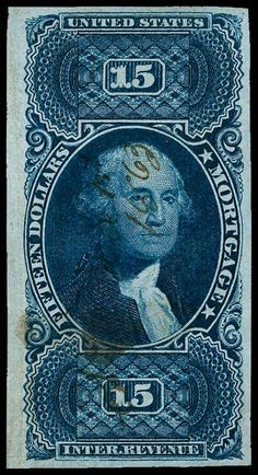 United States, Scott R97a. $15 Blue, L. Margin Single, light MC, stunning deep rich color and sharp proof like impression on bright white paper, there is a light V. CR in the L. margin which is well away from the design, fresh and Extremely Fine appearance, a very nice looking stamp Catalog value: 3250.00 Dealer Aldrich Auction Auction Starting Price: 1400.00 US$