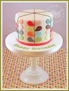 Orla Kiely themed birthday cake Cake by TheMagicalCupcakeCo