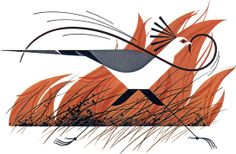 """""""A black mamba escaping a brush fire has been caught by a patrolling secretary bird"""" The Animal Kingdom: A Charley Harper Retrospective, part VI"""