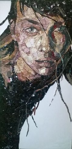 mosaic portrait, I believe made in association with the mosaic school in Spilimbergo, Italy. Mosaic Tile Art, Mosaic Artwork, Mosaic Crafts, Mosaic Projects, Mosaic Glass, Glass Art, Stained Glass, Mosaic Portrait, Portrait Art