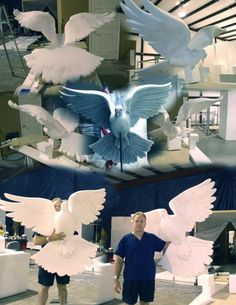 A dove with a 5 foot wing span, carved out of Styrofoam. Altar Decorations, School Decorations, Wedding Decorations, Paper Mache Crafts, Foam Crafts, Thermocol Craft, Styrofoam Art, Foam Carving, Mosaic Crafts
