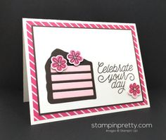 Wish Big Thinlits Dies & Biggest Birthday Ever stamp set birthday card created by Mary Fish, Stampin' Up! Demonstrator.  1000+ StampinUp & SUO card ideas.  Read more http://stampinpretty.com/2016/06/birthday-card-piece-cake.html