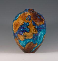 Alan Trout | 'A Manzanita World'. Manzanita burl cast with blue and lavender resin