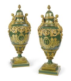 A PAIR OF NAPOLÉONIC SÈVRES STYLE GILT BRONZE MOUNTED IMPERIAL GREEN-GROUND LIDDED VASES, Paris, circa 1900