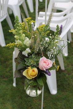Wild flower shepherds hooks - Rustic wedding flowers made by Amy's Flowers