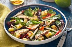Grilled Chicken & Pineapple Salad with Pineapple-Serrano Dressing Recipe - Healthy Living Kraft Recipes Kraft Foods, Kraft Recipes, Ww Recipes, Salad Recipes, Chicken Recipes, Diabetic Recipes, Dinner Recipes, Dinner Entrees, Entree Recipes