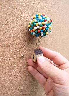 Whether you need to pin up a pin-up, or drop a pin on a map, the Balloon Pin House provides an enchanting place for you to store your map or noticeboard pins. Diy And Crafts, Arts And Crafts, Paper Crafts, Wooden Crafts, Plywood House, Balloon Clusters, Miniature Crafts, Design Blog, Mini Things