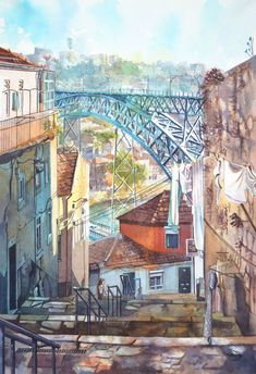 Have you ever dreamt of visiting Portugal but could not do it before? Young artist Viktoria Kravchenko has already done that and I want to share with you her amazing watercolors of Portugal and it's beautiful architecture. Viktoria brings into life its cityscapes and shows charming details of Portuguese life.