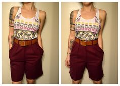 High Waist Long Maroon Shorts with Pockets