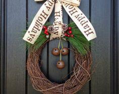 Christmas Wreath-Winter Wreath-Holiday Door Decor-Red Berry-Rustic-Holiday Season-Jingle Bells-Happy Holidays Ribbon Bow-Green Pine